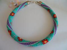 Beaded Crochet .Häkelkette Blume namens Sonne von Inspiration auf DaWanda.com