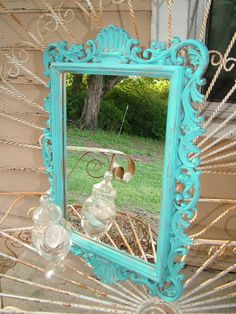 Ornate Wall Miror, Sea Shell Design  Shown in a Seaside Aqua or Choose Color ,  20 1/2 x 14 1/2 on Etsy, $59.99