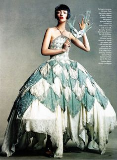 """""""Harlequin Romance"""" Audrey Marnay in Christian Dior Spring 1998   Photo by Steven Meisel  for Vogue"""