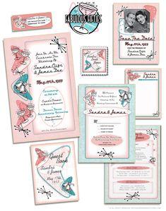 The Fabulous 1950s Wedding Invitations Suite at Vintageweddinginvitation.com
