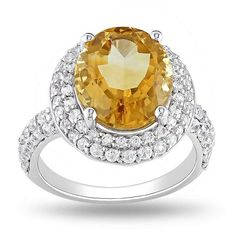 5 2/5 CT TGW Citrine Created White Sapphire Silver Fashion Ring - Ice.com