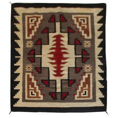 View this item and discover similar for sale at - This wonderful early geometric Navajo Indian weaving or rug is in pristine condition. Native American Blanket, Native American Rugs, Navajo Weaving, Navajo Rugs, Tapestry Crochet Patterns, Rug Patterns, Loom Knitting Projects, Embroidery Fabric, Woven Rug