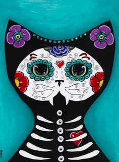 Day of the Dead Cat Original Halloween Folk Art Painting by KilkennycatArt
