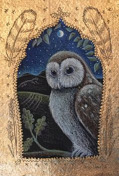 Owl icon. Pencil, acrylic and 22ct gold. Hannah Willow. Www.hannahwillow.com www.facebook.com/Hannah.willow.artist #art #illustration #owl