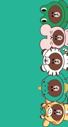 Kaws Iphone Wallpaper, Pig Wallpaper, Lines Wallpaper, Brown Wallpaper, Friends Wallpaper, Kawaii Wallpaper, Cute Wallpaper Backgrounds, Cute Cartoon Wallpapers, Pretty Wallpapers