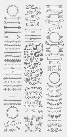 Buy Hand Drawn Vintage Elements Collection by egirldesign-vectors on GraphicRiver. Hand drawn vintage elements collection A set of 111 hand drawn vintage elements – dividers, frames, ribbons, phrases . Borders Bullet Journal, Bullet Journal Lettering Ideas, Bullet Journal Banner, Bullet Journal Notebook, Bullet Journal Aesthetic, Bullet Journal Ideas Pages, Bullet Journal Inspiration, Bullet Journal Frames, Bullet Journals