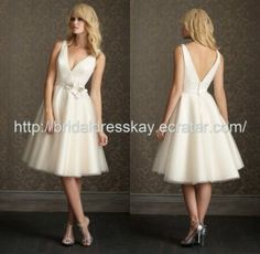 Knee length V-neckline organza Wedding dress ,short bridal gown