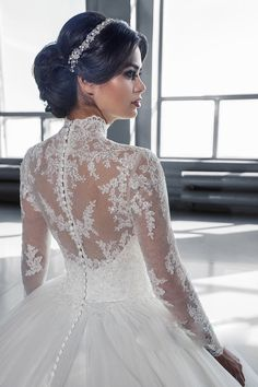 W3058 robe de mariage High Neck Long Sleeves Puffy Lace Ball Gown Wedding Dress 2016 IIIusion Botton Back Princess Wedding Dress