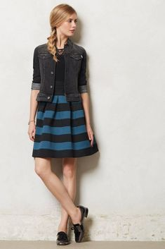 Scalloped Ponte Bell Skirt Blue & Black By Girls from Savoy Anthropologie, M/L  #Anthropologie #FullSkirt