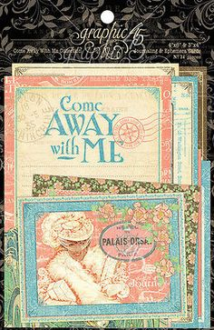 Graphic45 COME AWAY WITH ME (34) Ephemera & Journal Cards scrapbooking TRAVEL