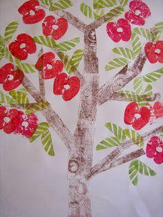 Week 2- Kindergarten Printed Fruit Trees  Need apples, and wood.  And leaves for rubbings