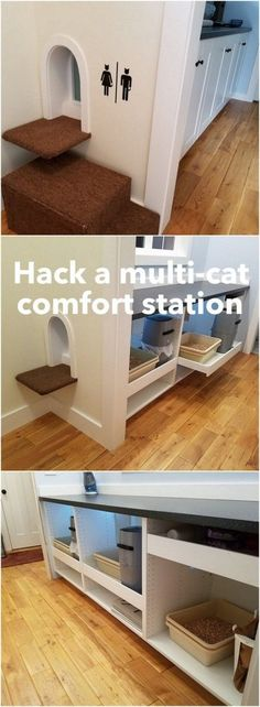 Spoiled kitty comfort station hidden in mudroom space - IKEA Hackers <br> We decided to use the IKEA SEKTION cabinets, and turned them into a multi-cat hidden cat litter box, along with a motion sensor activated nightlight. Animal Room, Ikea Hackers, Pet Furniture, Apartment Furniture, Furniture Ideas, Woodworking Furniture, Teds Woodworking, Ikea Sektion Cabinets, Diy Litter Box