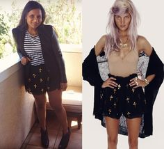 Mindy's black chiffon shorts with gold sequin crosses are from Wildfox's Spring 2012 collection and, while they're sold ou...