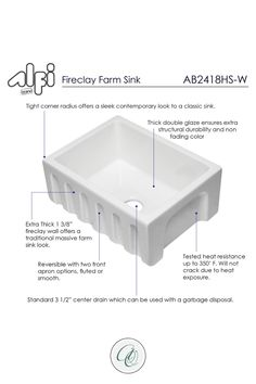 Explore farmhouse kitchen sinks and decor at www.annieandoak.com. Shop for 24-inch White Reversible Smooth / Fluted Single Bowl Fireclay Farmhouse Sink by Alfi now. This 24-inch single sink is designed to offer the traditional popular look of an apron farm sink with a stylish modern twist. This sink is constructed of high-grade fireclay material, ensuring durability, longevity, and resilience to acids, alkali's, scratches, and chipping. Visit us at www.annieandoak.com for more kitchen sinks. Fireclay Farmhouse Sink, Fireclay Sink, Farmhouse Sink Kitchen, Kitchen Sinks, Kitchen White, White Kitchen Cabinets, Farm Sink, Coffee Staining, Sink Faucets