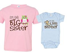 Sibling Shirt Set, Big Sister and Monkey Little Bro, Includes Size 2 and 0-3 mo Nursery Decals and More