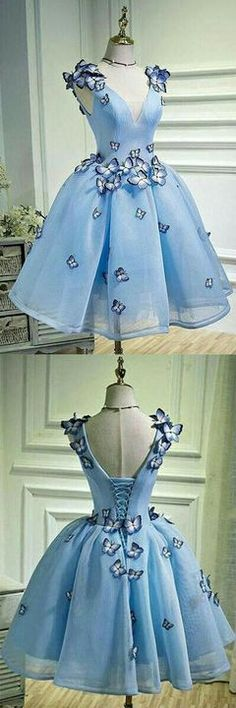 Sky Blue Prom Dress, Party Dress With Butterfly, A Line Prom Dress,V Neck Short Homecoming Dress - Homecoming Dresses Blue Homecoming Dresses, A Line Prom Dresses, Prom Party Dresses, Trendy Dresses, Cute Dresses, Short Dresses, Fashion Dresses, Dress Outfits, Dress Party