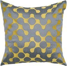 Rizzy Home Gray and Yellow Decorative Throw Pillow T05240