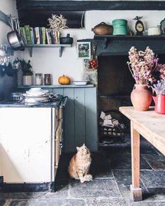 Pin by Twiggstudios / Aimee Twigger / on interior inspiration (With images) Cottage Kitchens, Home Kitchens, Unfitted Kitchen, Hygge Home, Cottage Interiors, Home Decor Inspiration, Kitchen Interior, Cottage Style, Vintage Kitchen