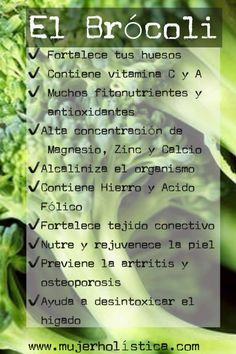Propiedades del Brocoli Health And Beauty, Health And Wellness, Health Fitness, Fruit Facts, Healthy Tips, Healthy Recipes, Salud Natural, Healthy Vegetables, Natural Medicine