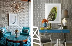 Once again I'm getting inspired by Jonathan Adler and am sharing some of the tropical bird artwork and pillows I have found. Jonathan Adler, Large Floor Lamp, Floor Lamps, Turquoise Room, Palm Springs Style, Modern Lighting Design, Gold Bedroom, Animal Decor, House Design