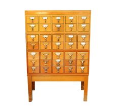 Card catalog cabinet, Library, 35 drawers with stand, brass, wood, vintage storage, home office, card file, organizer. $495.00, via Etsy.