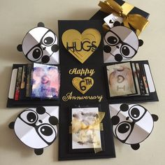 """Buy Panda Explosion Box With 8 Waterfall, Pull Tab In Black & Gold in Singapore,Singapore. ----------- Info ------------- Size: 4x4""""  Explosion box card with - 2 layers - a lighthouse with on/off switch  - 1 pull out tab with 7 photos  - 2 tags in 2 p Chat to Buy"""
