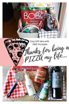 Teacher Gift Ideas, Fun and Easy Gifts for Friends, Housewarming Gift Idea, Pizza Themed Gift Basket Homemade Gift Baskets, Housewarming Gift Baskets, Teacher Gift Baskets, Themed Gift Baskets, Wine Gift Baskets, Christmas Gift Baskets, Homemade Gifts, Basket Gift, Wrapping Ideas