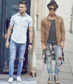 Resultado de imagem para jeans rasgado look masculino