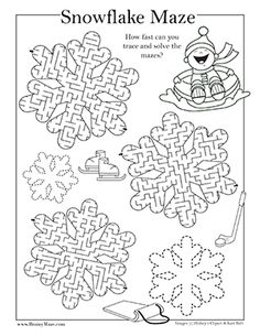 Free Winter Themed Mazes and Activity Pages for Kids. Snowma Maze, Snowflakes, H . Winter Crafts For Kids, Winter Fun, Winter Theme, Winter Camping, Christmas Maze, Winter Christmas, Christmas Crafts, Activity Sheets For Kids, Mazes For Kids