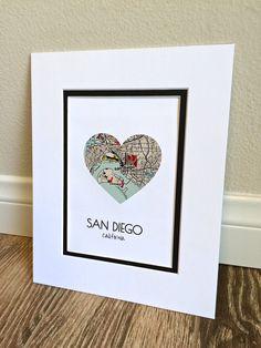 San Diego Map Art First Anniversary or Wedding Gift San
