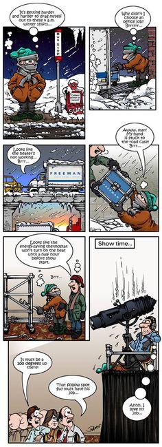 Technology Satire: Basking in the Warmth of the Show  #eventprofs #comics #funnyfridays #freeman #freemanavcanada