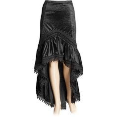 Luxurious black velvet skirt with lace banding and long tail, from the Sinister collection of gothic clothing for women.