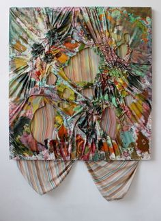"Maria Britton (American). Untitled? ~2013-14. ""Recently I have started to incorporate smocking, a form of embroidery, into my paintings which enables me to manipulate the surface of a sheet into a bumpy, textured, and patterned surface [. . . ] Using washes, glazes, and streaks of acrylic, I work intuitively and impulsively with brushes, sponges, and squeegees."""