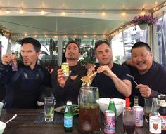 See the Avengers assemble for lunch! A social media post features Infinity War stars Benedict Cumberbatch, Robert Downey Jr, Mark Ruffalo and Benedict Wong. Marvel Dc, Films Marvel, Captain Marvel, Captain America, The Avengers, Avengers Movies, Benedict Cumberbatch, Robert Downey Jr., Mark Ruffalo