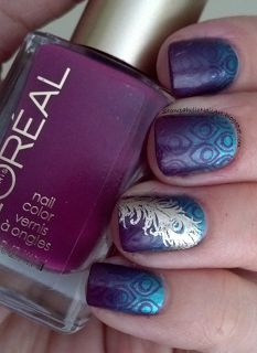 Flat Purple/ metallic teal gradient, then stamped with flat purple pattern + Gold accent. Could easily be other colours.