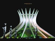 Cathedral of Brasilia - An international icon of modern architecture and design, Oscar Niemeyer inspired Zesty of R to learn more about Brazilian design. Places Around The World, Around The Worlds, Place Of Worship, Kirchen, Modern Architecture, Amazing Architecture, Futuristic, Beautiful Places, Cathedrals