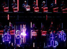 Ariana Grande joins Little Big Town and a massive drumline at the CMA Awards at Bridgestone Arena in Nashville Nov. 5. (Wade Payne / Invision / AP)
