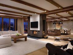 Wohnzimmermöbel luxus  luxus wohnzimmer dunkle farben graues sofa dekokissen rundtisch ...
