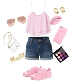"""Pinklicouis"" by sashasade on Polyvore featuring beauty, LE3NO, MANGO, adidas Originals, Ray-Ban, MAC Cosmetics and Stella & Dot"