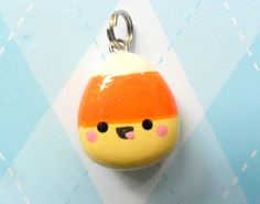 Kawaii Candy Corn Charm Polymer Clay Fall Halloween. $5.00, via Etsy.