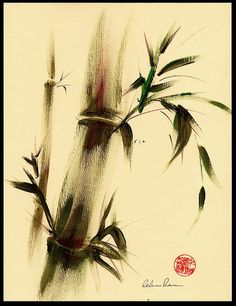 """Calm""  Original sumi-e bamboo painting by Becca's Place, via Flickr"