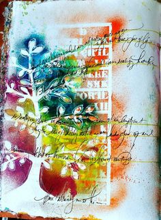 This page is just Tim Holtz Adirondack Color Wash ink and water-based Poster Paint Sharpie pens (in black & white).