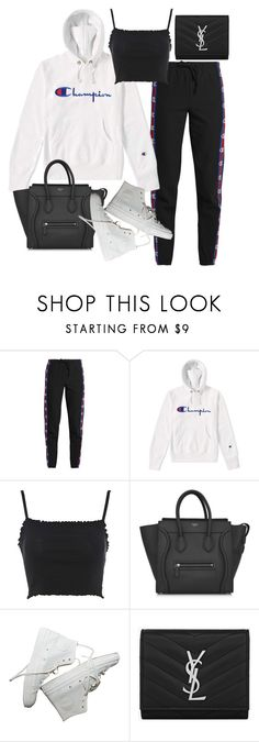 """""""Untitled #23187"""" by florencia95 ❤ liked on Polyvore featuring Vetements, Champion, Topshop, CÉLINE and Yves Saint Laurent"""