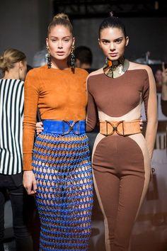 Doutzen Kroes and Kendall Jenner backstage at Balmain spring/summer 2016 collection - Paris fashion week. #balmain