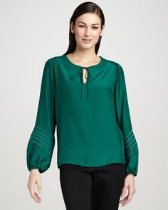 Drama Cutout-Sleeve Blouse, Women\'s by Go Silk at Neiman Marcus.