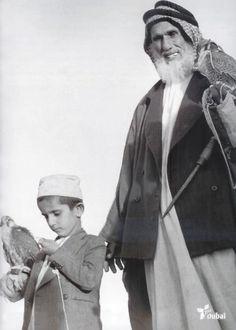 Sheikh Mohammed bin Rashid Al Maktoum at age 10 with his Hunting Coach #dubai #falcon
