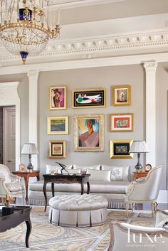 Gray Traditional European Living Room with Modern Artwork