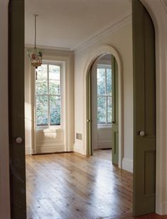 arched pocket doors in sage green <3