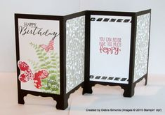 "Fancey Fold ""Screen Card"".  Used the Stampin' Up! Decorative Label Punch to create the 'feet'."