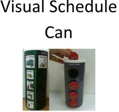 Cool portable and fun way to visual schedule. Pringles, anyone?